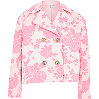 Girls pink floral swing jacket
