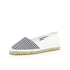Girls white stripe espadrilles