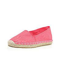 Girls coral lace espadrilles