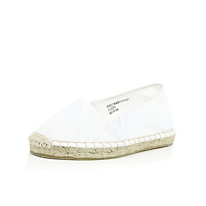 Girls white lace espadrilles