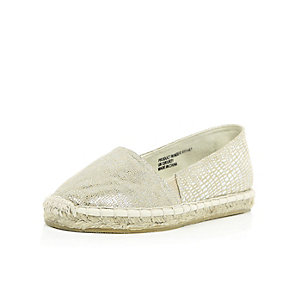 Girls metallic gold espadrilles