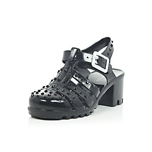 Girls black studded heel jelly shoes