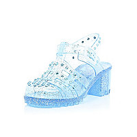 Girls blue glittery studded heel jelly shoes