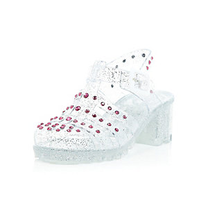 Girls white glittery studded heel jelly shoes