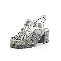 Girls glittery studded heel jelly shoes