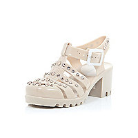 Girls light pink studded heel jelly shoes