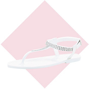 Girls white gem barely there jelly sandals