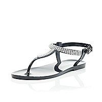 Girls black gem barely there jelly sandals