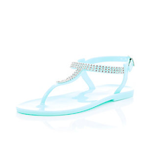 Girls blue gem barely there jelly sandals