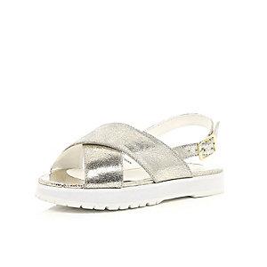 Girls gold cross over strap sandals