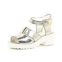 Girls gold clumpy double buckle sandal
