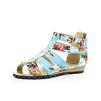 Girls blue tropical gladiator sandals