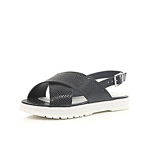 Girls black slider sandals
