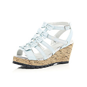 Girls blue bow front wedge shoes