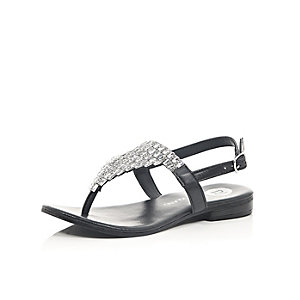 Girls black gem embellished sandals
