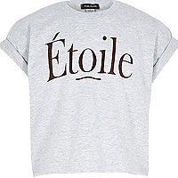 Girls grey Etoile print crop t-shirt