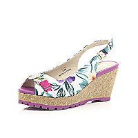 Girls purple floral print wedge sandals