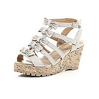 Girls cream studded bow front wedges