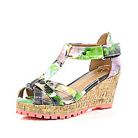 Girls pink print wedge sandals