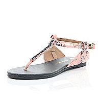 Girls orange snake print gem sandals