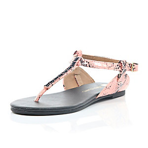 Girls orange snake print gem sandals