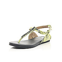 Green snake print gem barely there sandals