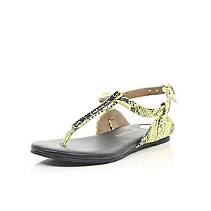 Girls green snake print gem sandals