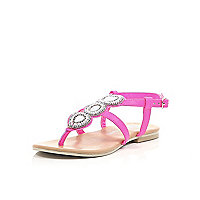 Girls pink embellished sandals