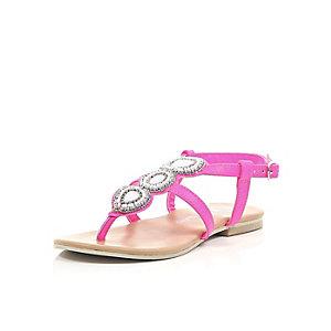 Girls pink embellished sandals