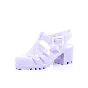 Girls purple heel jelly shoes