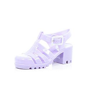 Girls purple heel jelly shoes