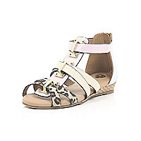 Girls light pink mini wedge sandals