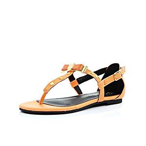 Girls orange bow barely there sandals