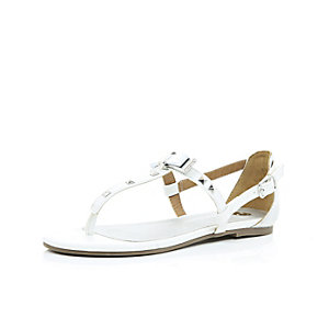 Girls white bow barely there sandals