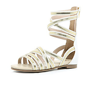 Girls white gladiator high leg sandals
