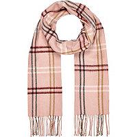 Girls pink tartan scarf