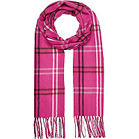 Girls bright pink tartan scarf