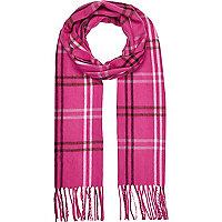 Girls bright pink tartan scarf