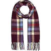 Girls purple and yellow tartan scarf