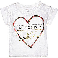 Mini girls metallic fashionista heart t-shirt