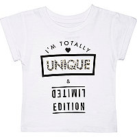 Mini girls white unique and limited t-shirt