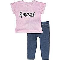 Mini girls pink Amour t-shirt and legging set