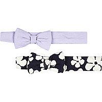 Mini girls navy floral lilac headband pack