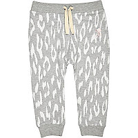 Mini girls grey leopard print skinny joggers