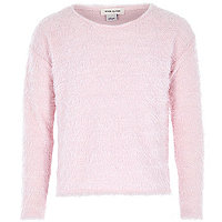 Girls light pink eyelash long sleeve jumper