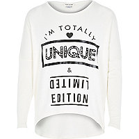 Girls cream totally unique print top