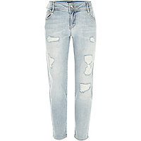 Girls light blue wash ripped slim jeans