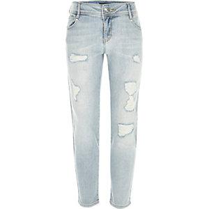Girls light blue wash ripped Jenna slim jeans