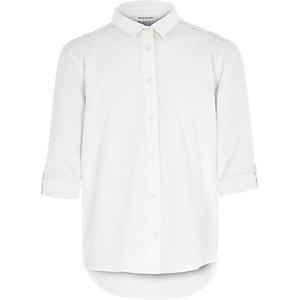 Girls cream lace panel shirt
