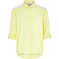 Girls yellow lace insert shirt